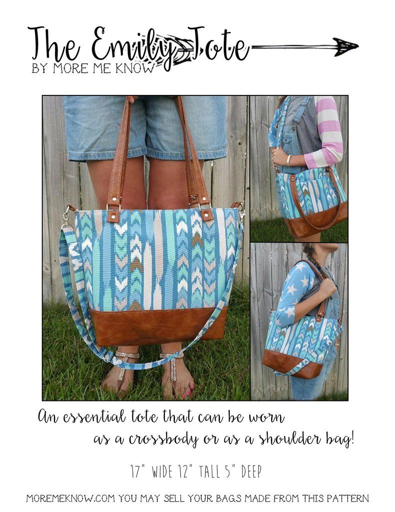d885cb84fe The Emily Tote Bag 2.0 - PDF Sewing Pattern   Totes and Purses ...
