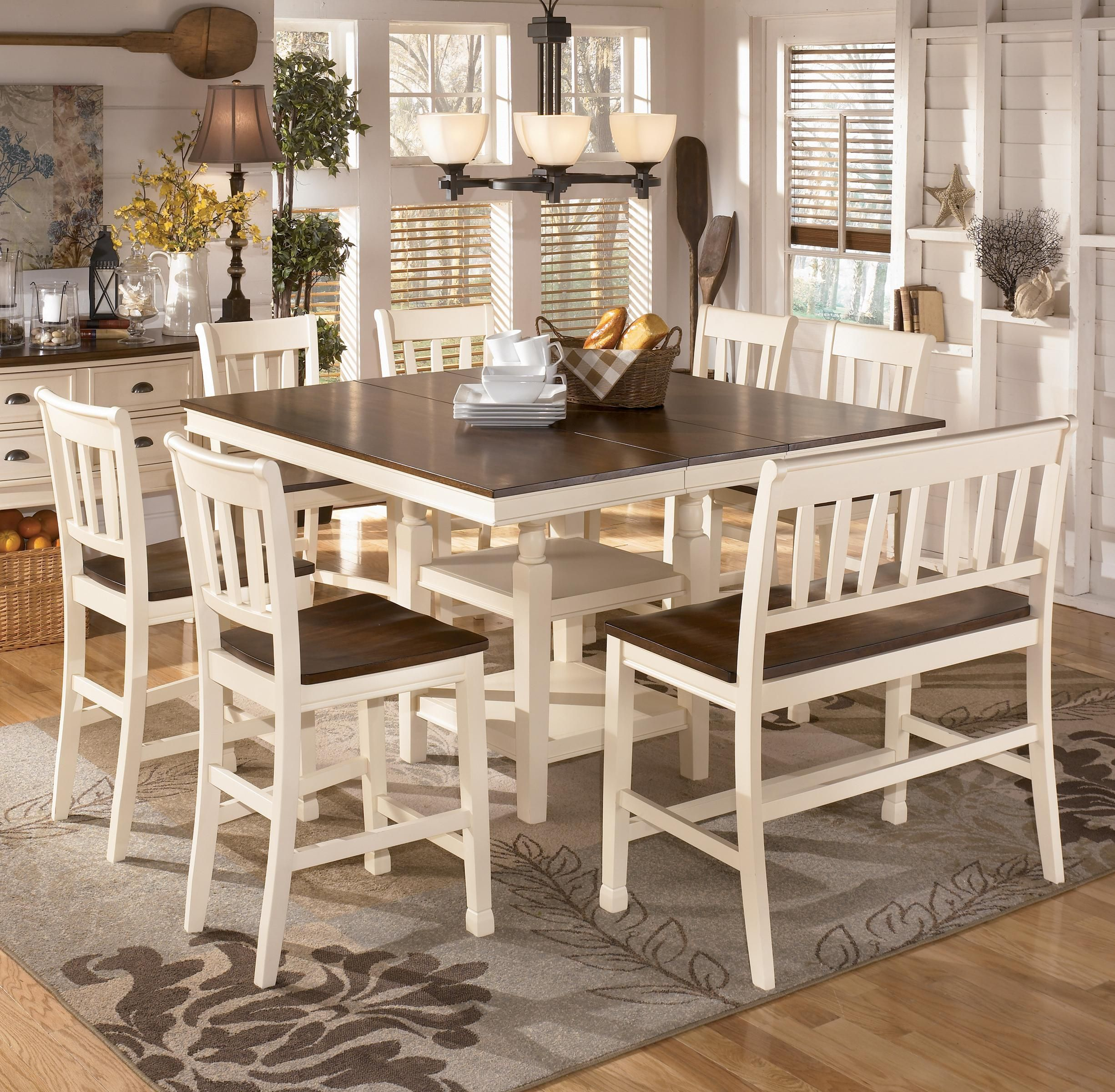 Whitesburg 8 Piece Square Counter Extension Table Set By Signature