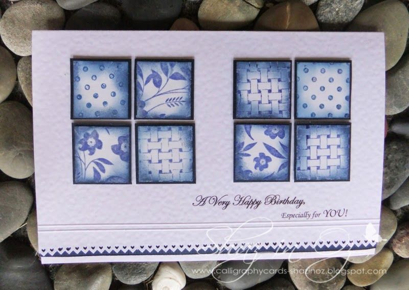 Blue and white tile card Greeting is a digi one formatted in Word doc. Stamps are Penny Black background ones, except Bamboo which is Victorine Original. Punch is EK Success. Ink ins Adirondack dark blue (?) archival colour...