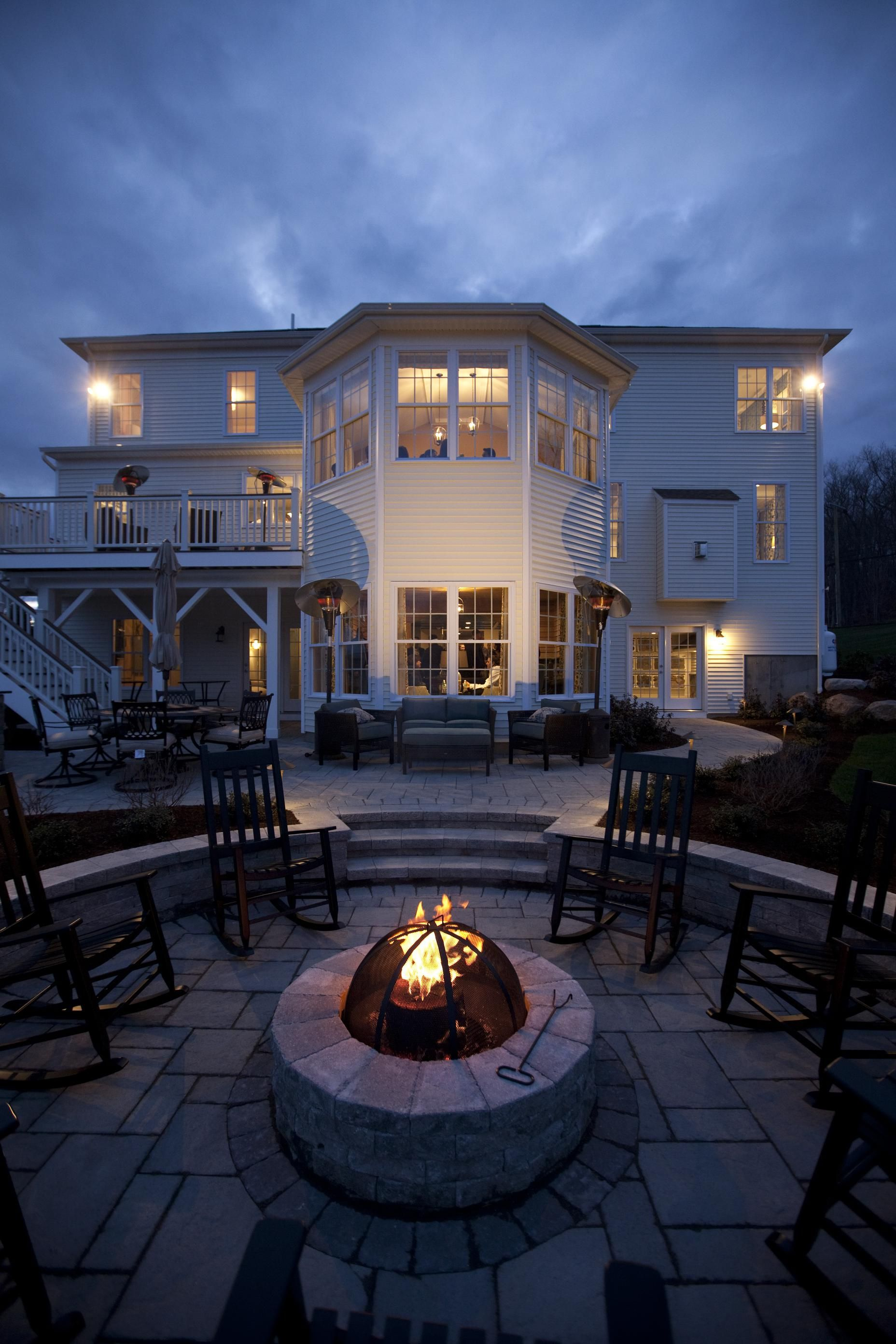 Warm Up By The Fire With Friends And Family In This Magnificent Home At Glastonbury Estates In Connecticut Outdoor Living Outdoor Living Space Living Spaces
