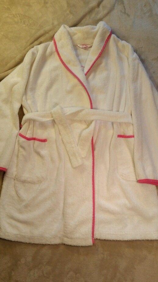 Victoria's Secret PINK white and pink robe size M/L #VictoriasSecret #Robes