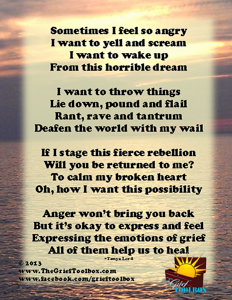It is ok to feel anger in grief A Poem | The Grief Toolbox | For ...