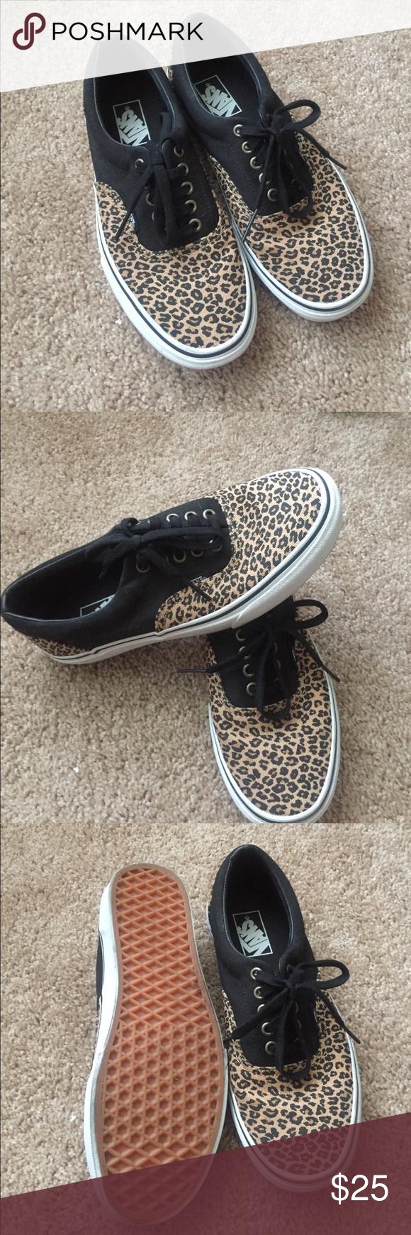 bbab78c6987 VANS leopard print lace up sneakers. Never worn women s US size 9. Authentic  leopard print vans sneakers. Vans Shoes Sneakers