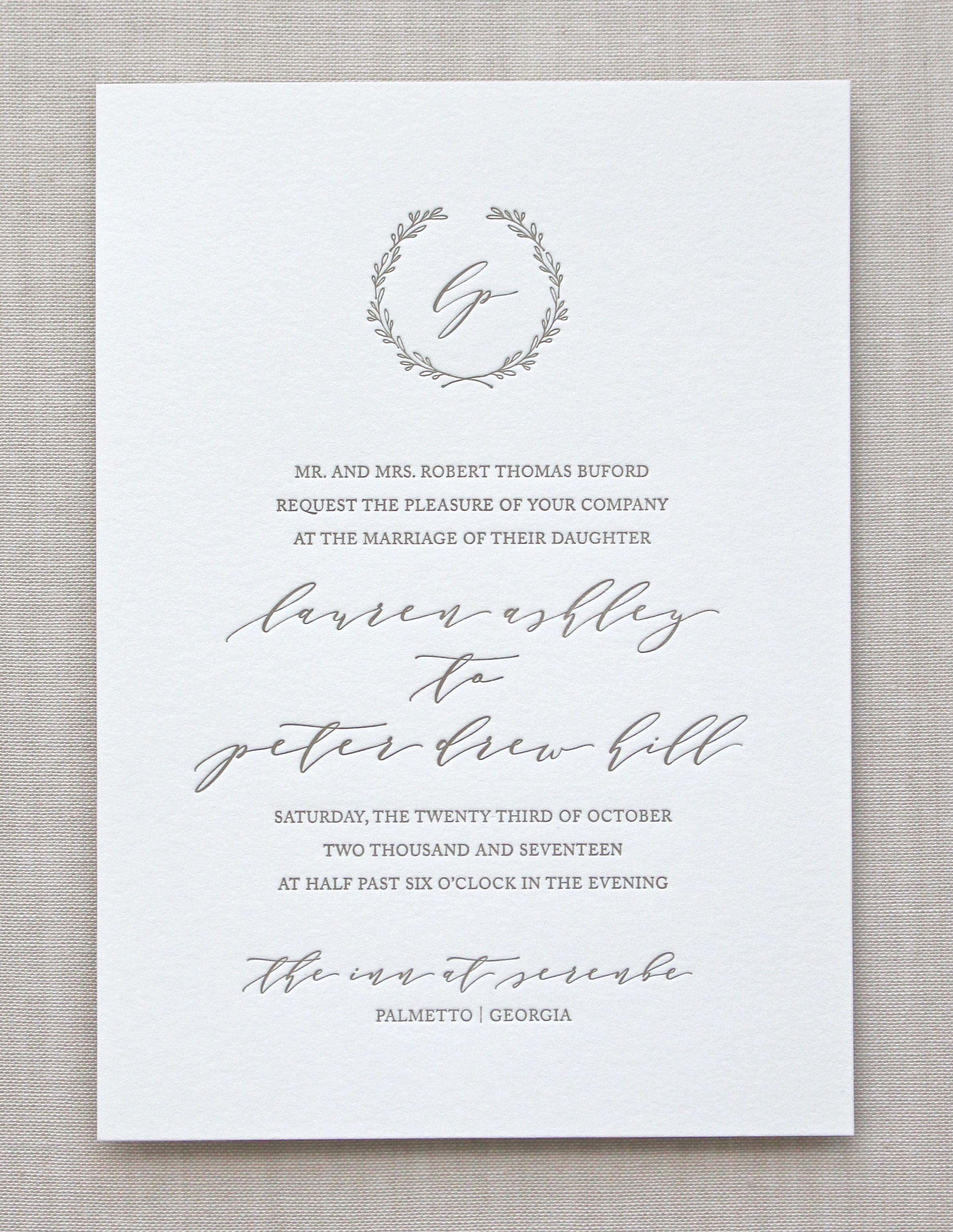 Serenbe Modern Wreath Letterpresses And Weddings