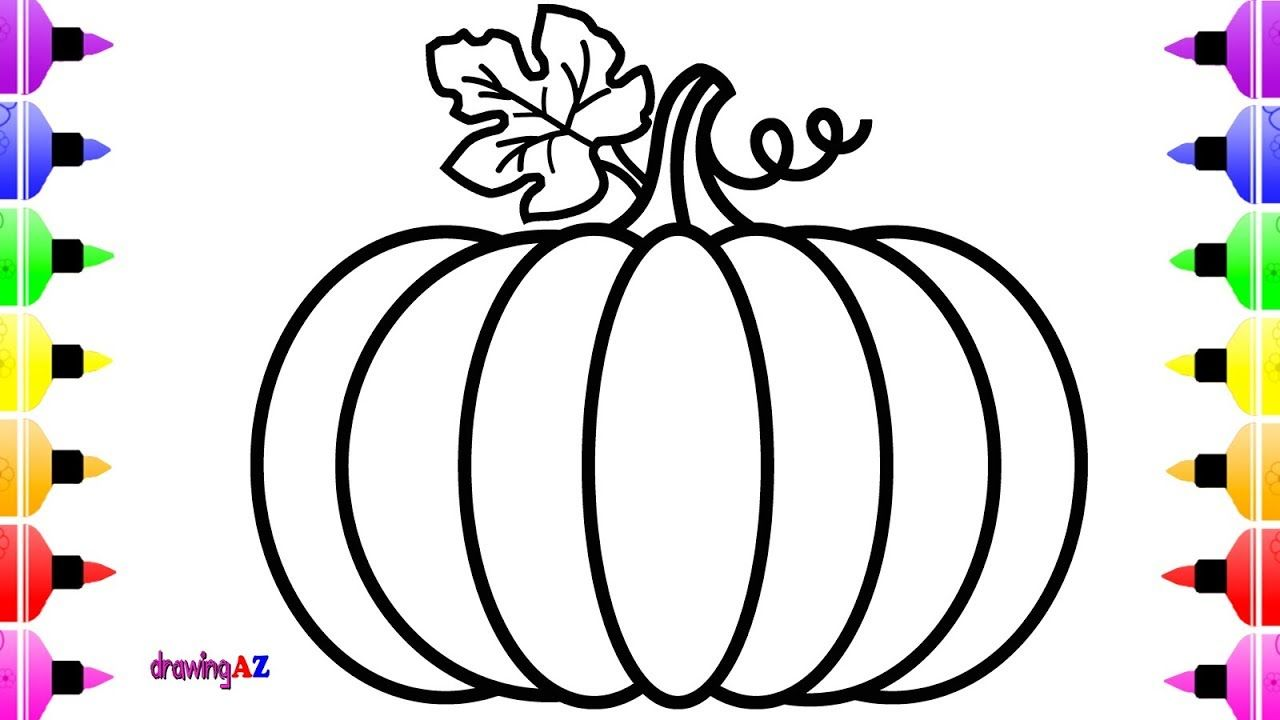 How to Draw Pumpkin so Cute for Kids and Art Colouring Book for ...