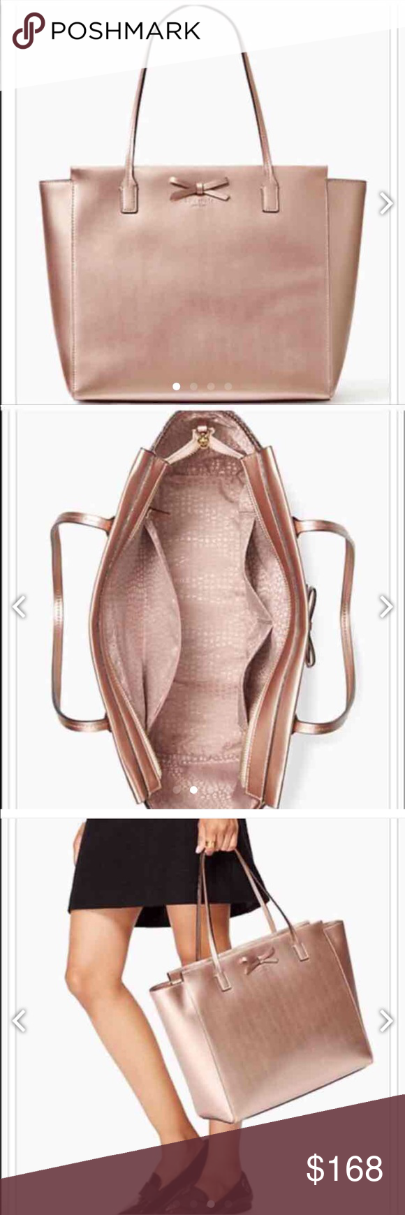 """NWT Kate Spade Rose Gold Tote BLACK FRIDAY SALE! New with Tags Kate Spade Sawyer Street Taden Metallic Leather Tote in Rose Gold  100% Authentic - still in Shipping Plastic  Regular Price: $298 Sale price: $195  Great Gift for you or a great Deal for a Christmas Gift!     Style: #WKRU3494  Look is simple, yet elegant for everyday use!  Size: Large to XL  Measurement: 13.3"""" (l) bottom 17 1/2"""" top widest x 12.1"""" (h) x 4.3"""" (w) Drop length 8.15"""" 14-karat light gold hardware Exterior: Tote with…"""