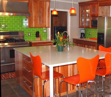 marvelous mellow countertops with vibrant lush 3x6 bamboo tile