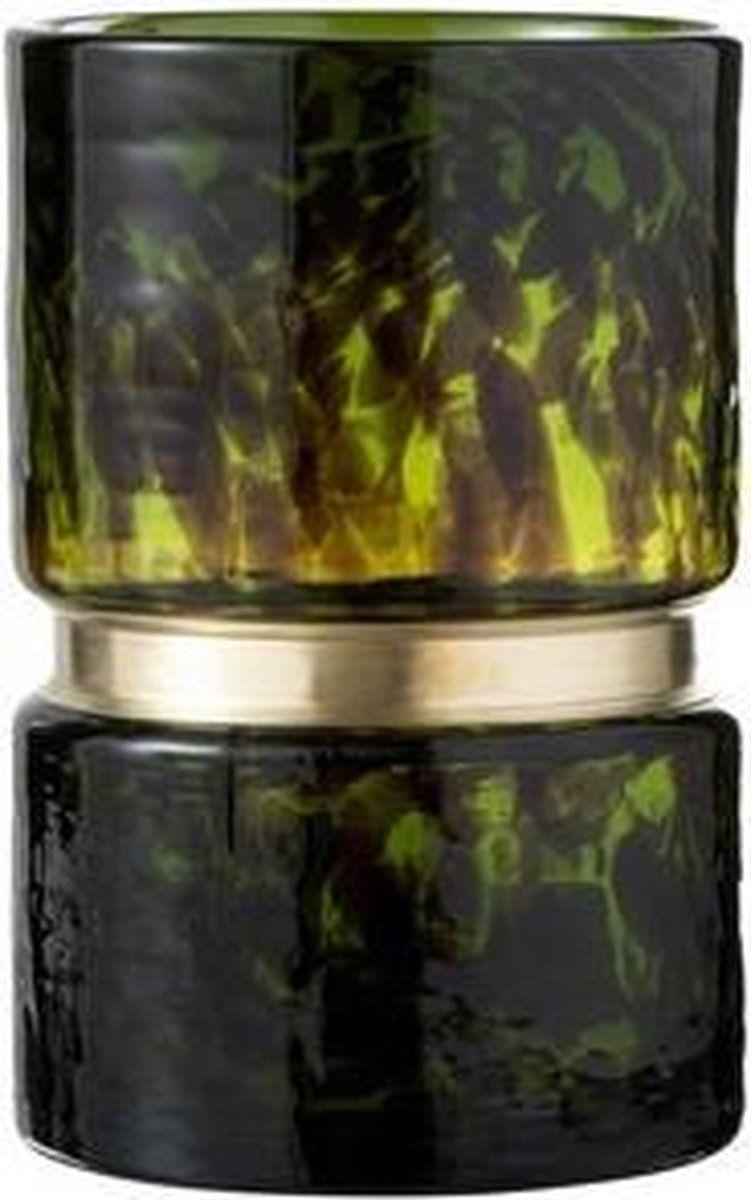 J Line Vaas Spikkel Glas Groen Zwart Goud 16x16x23 Zwart Goud Vaas Glas