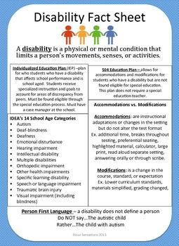 Disability Fact Sheet Disability Awareness Month Disability