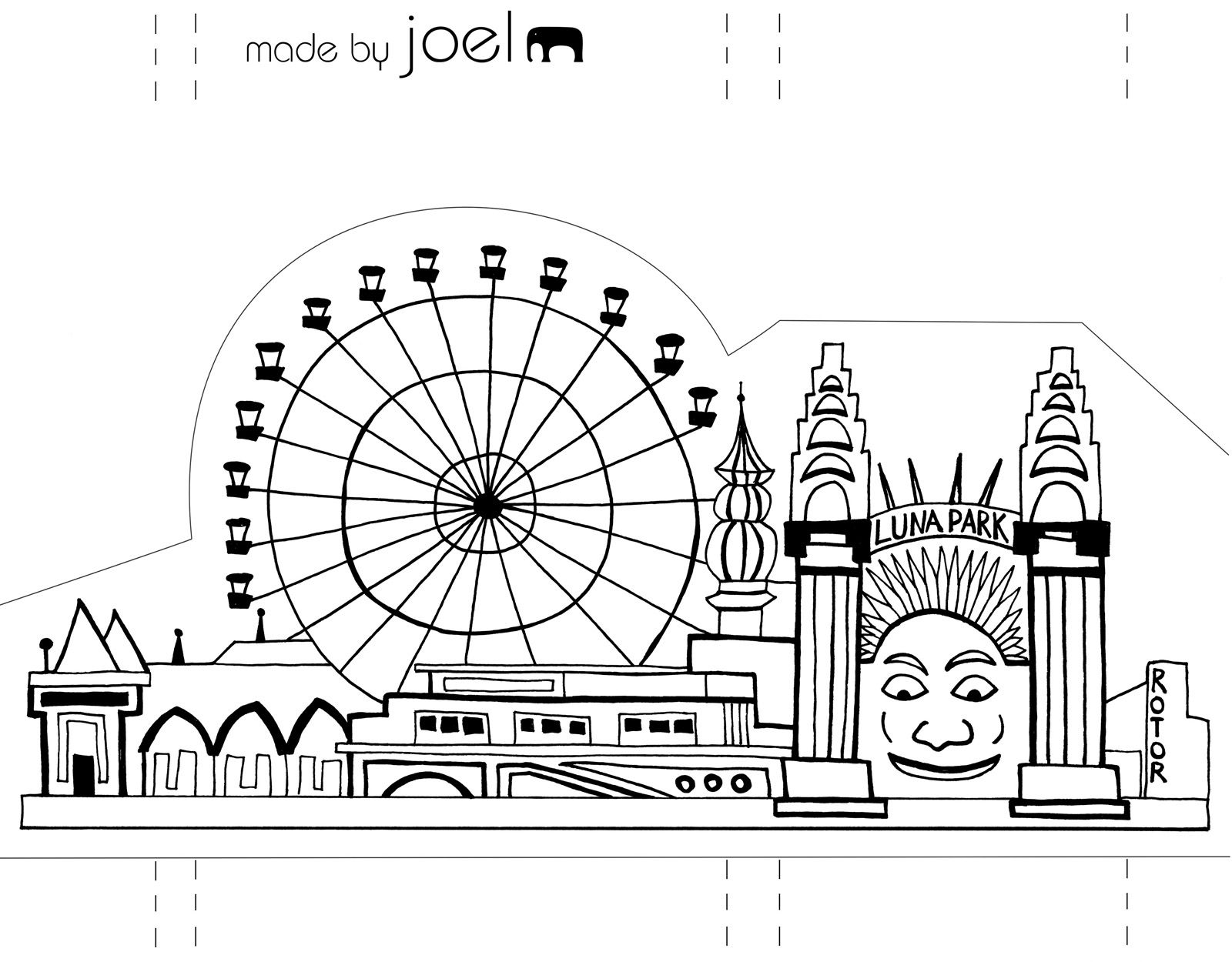 Template Made by Joel Paper City Sydney Luna Park, Paper