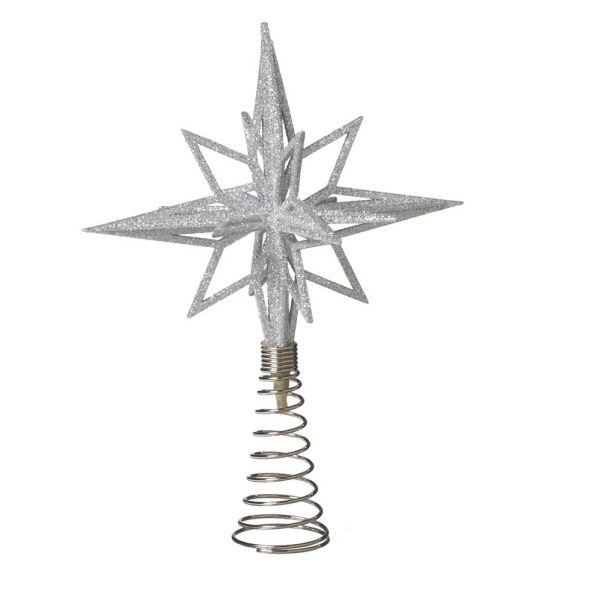 Silver Starburst Treetop Christmas Tree Topper Ornament
