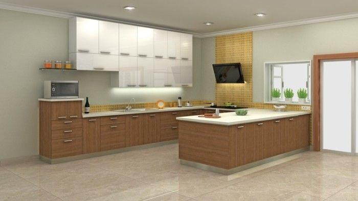 moderne küche in u form mit stilvolle bodenfliesen | Küche Möbel ... | {Moderne küche u-form 99}