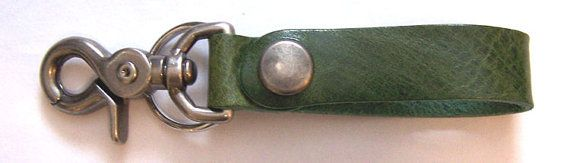 Darkwear Clothing Green Leather Key Fob Snap Hook w Antique Nickle Snap & Key Ring via Etsy