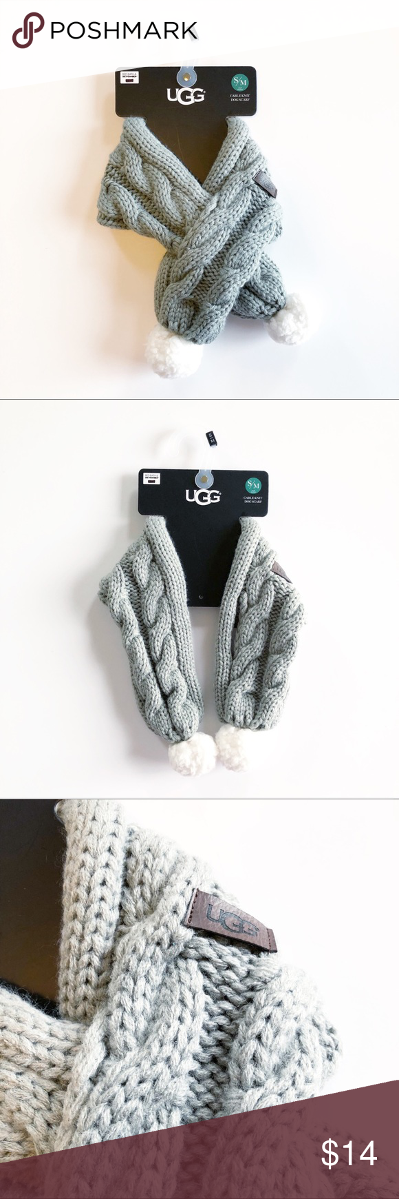 6e612d9dd UGG® Sherpa Pet Cable Knit Scarf in Grey Keep your dog cozy and warm this