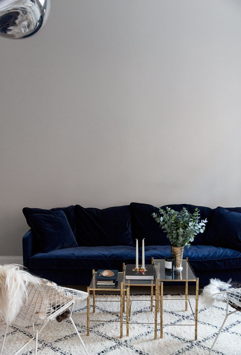 The Perfect Blue Velvet Couch   For the Home   Pinterest   Blue     The Perfect Blue Velvet Couch   Carolina Engman Home   Farrow and Ball  Pavilion Gray