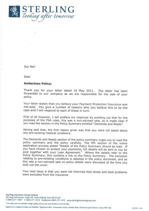 for missold ppi rejection letter any chance can still claim - sample confidential memo