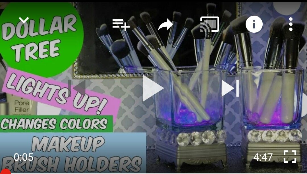 Dollar Tree Light Up Organizers Makeup brush holders