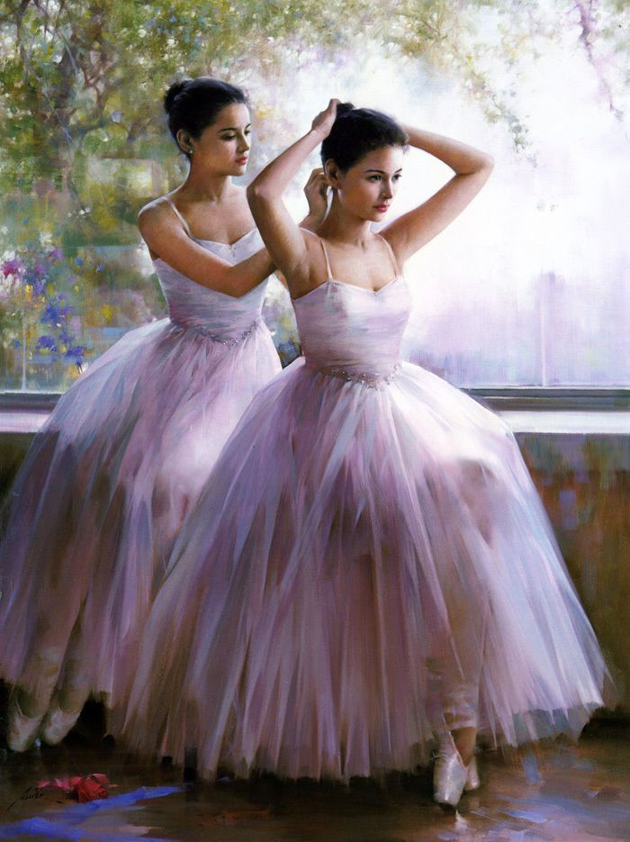 Oil painting beautiful young ballet girls Before the performance in ...