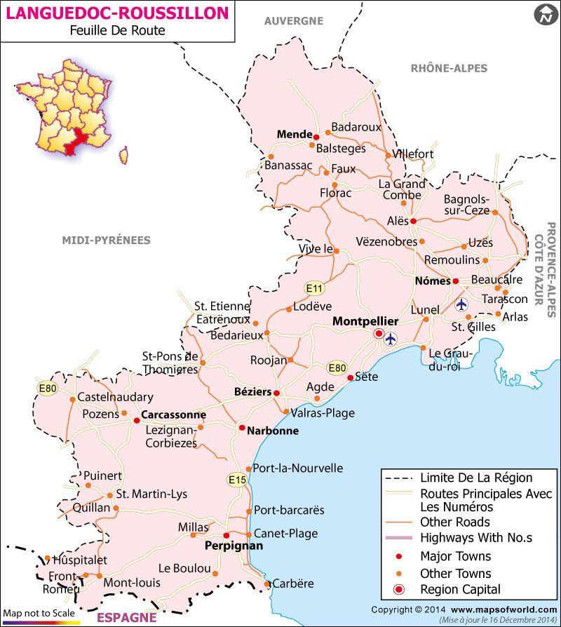 Languedoc Roussillon Carte Routiere Vakantie
