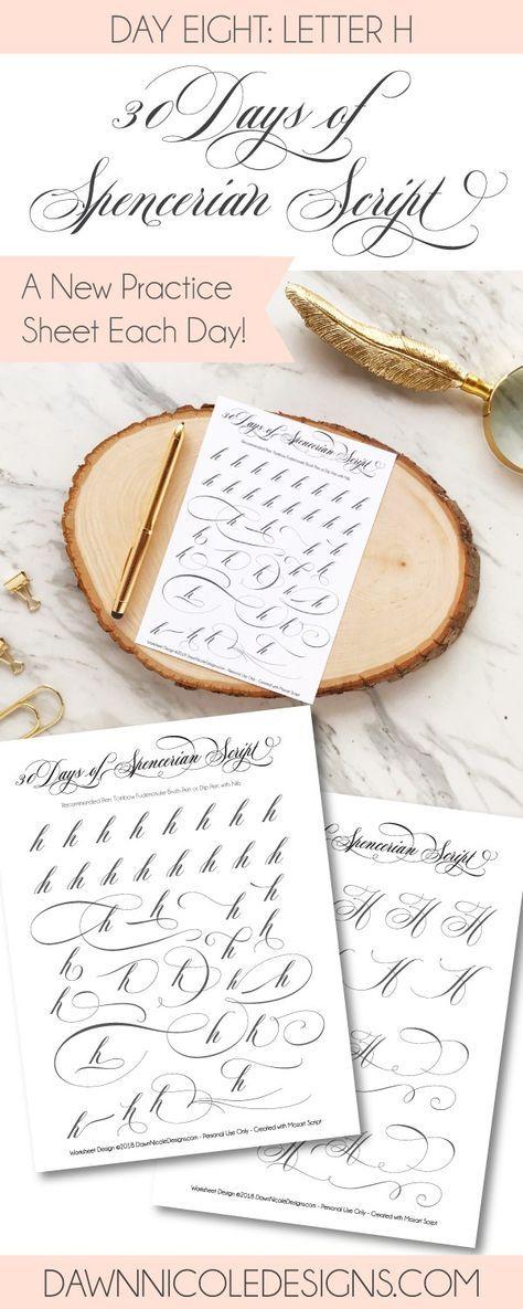 Spencerian Script: Letter H Worksheets   Pinterest   Kalligraphie ...