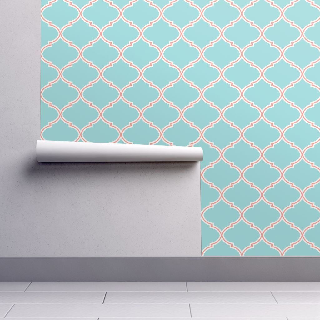 Aqua Blue Wallpaper Lily Trellis in Turquoise and Coral