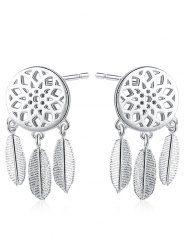 Dream Catcher Sterling Silver Leaf Earrings - SILVER