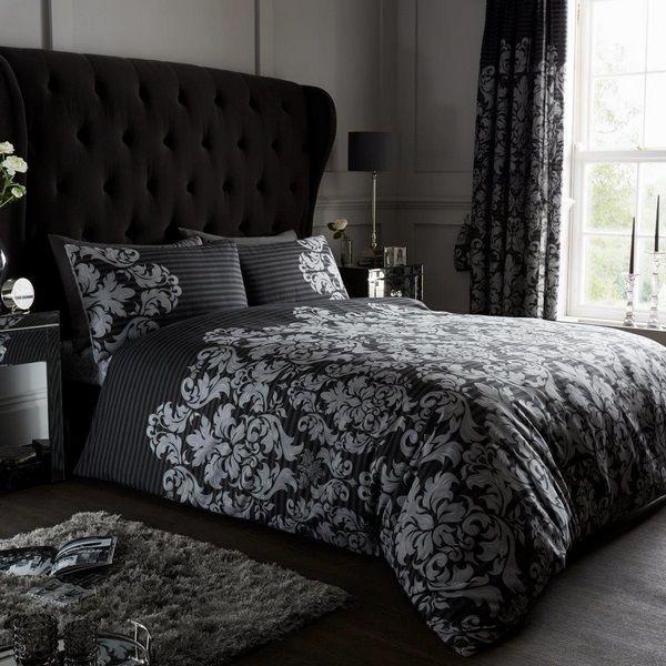 Black Bed Sheets Ideas Duvet And Matching Curtains Black Bed Sheets Bedding Set Bedroom Design Decor Ide Damask Bedding Duvet Cover Sets Bedding Sets