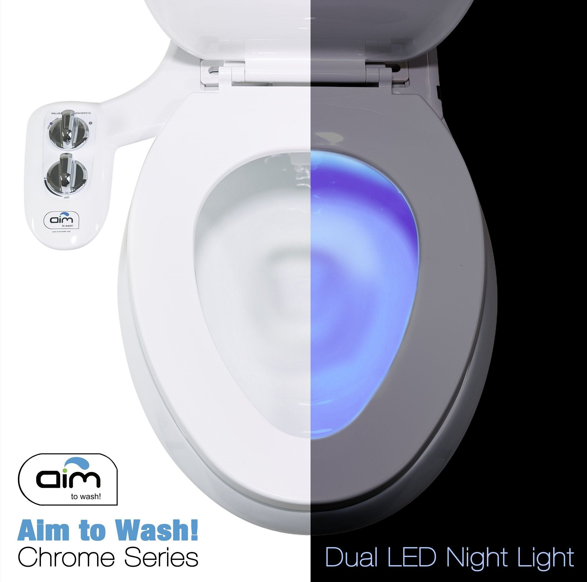 Chrome night lamps - Bidet Attachment Toilet Night Light Quick Release Aim To Wash Chrome Series