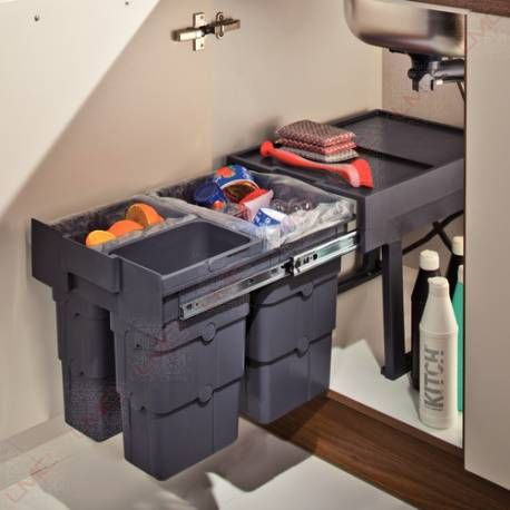 poubelle coulissante sous vier avec 2 ou 3 bacs cuisine. Black Bedroom Furniture Sets. Home Design Ideas