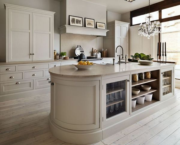 Oval Kitchen Island Complement The Interior With Elegant Curved
