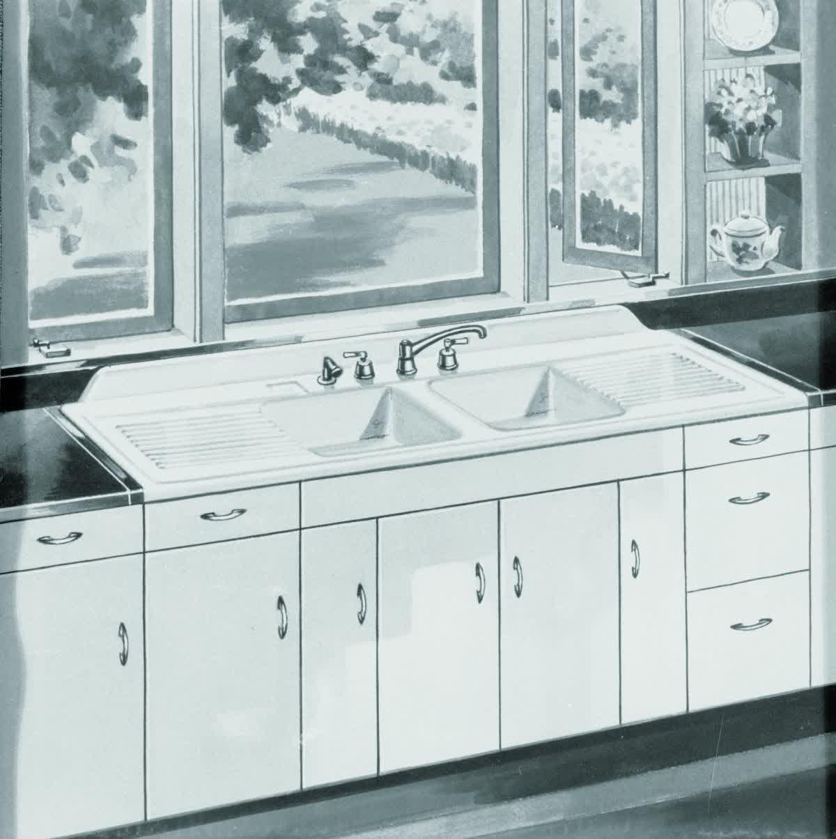 installing antique iron kitchen sink with drainboard - home design
