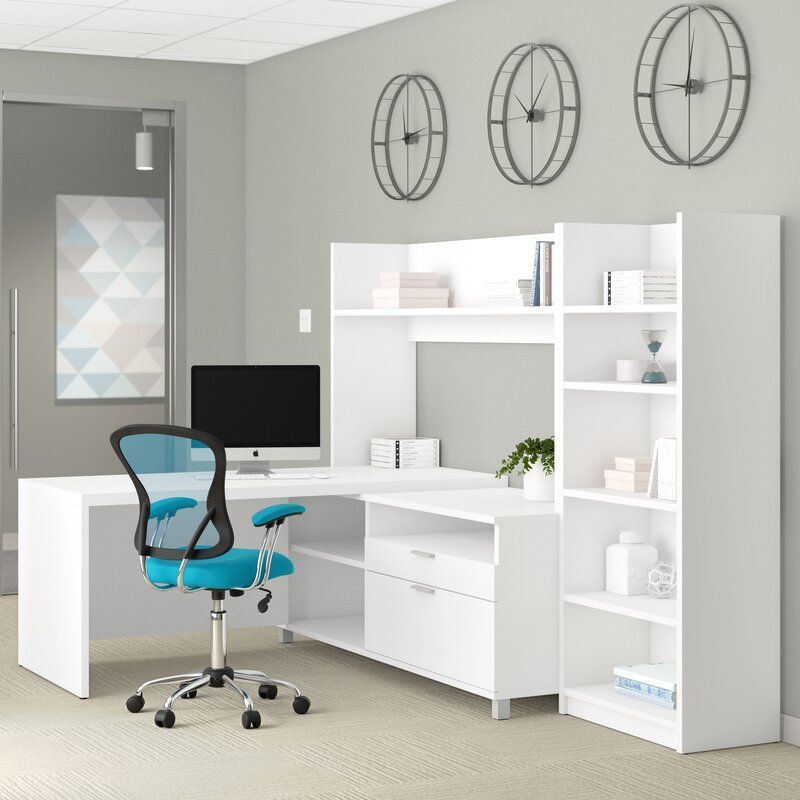 Pin On Home Office Space White l shaped desk with hutch