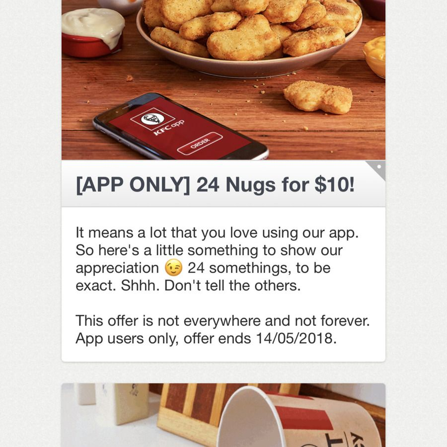 KFC 24 Chicken Nuggets for 10 (via App) (With images