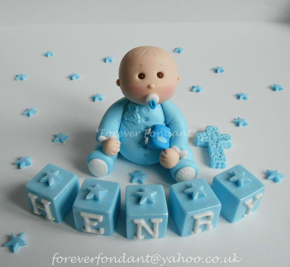 Baby Boy Name Block Car Christening First Birthday Cake Topper