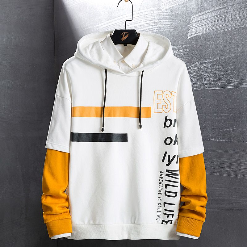 Male Sweatshirt Letter Print Fitness High Quality Winter New Personality Hooded