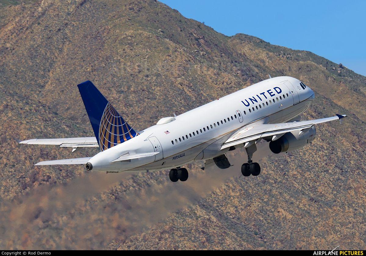 Denver-bound United Airlines A319 takeoff over Mt San Jacinto