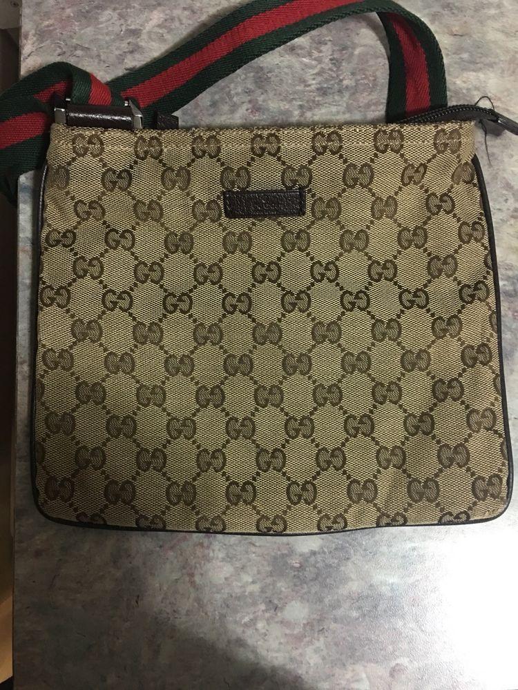 7f57b558e4a Preowned Gucci Tan Logo Canvas Red Green Strap Crossbody Shoulder Bag Small   purses  fashion