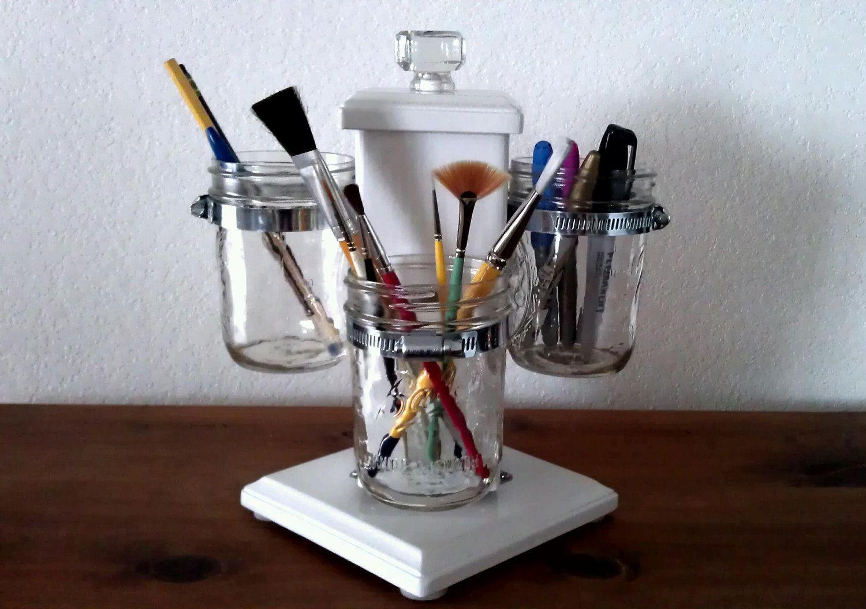 rotating ball jar desk caddy desk organizer utensil caddy paint