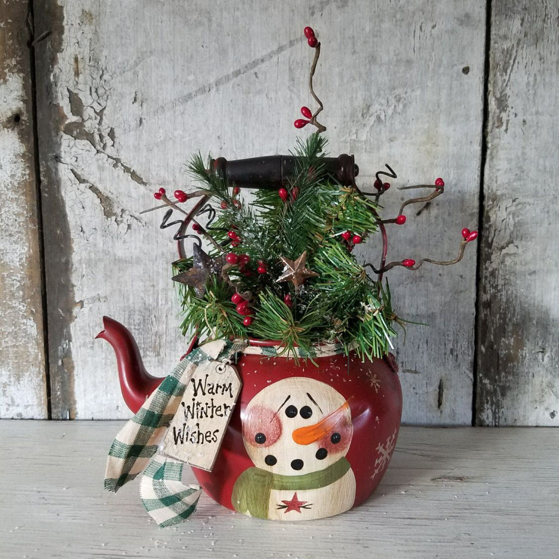 marvelous Snowman Kitchen Decor #6: Primitive Snowman on Vintage TeaPot, Country Primitive, Primitive  Christmas, Snowman Decor, Painted