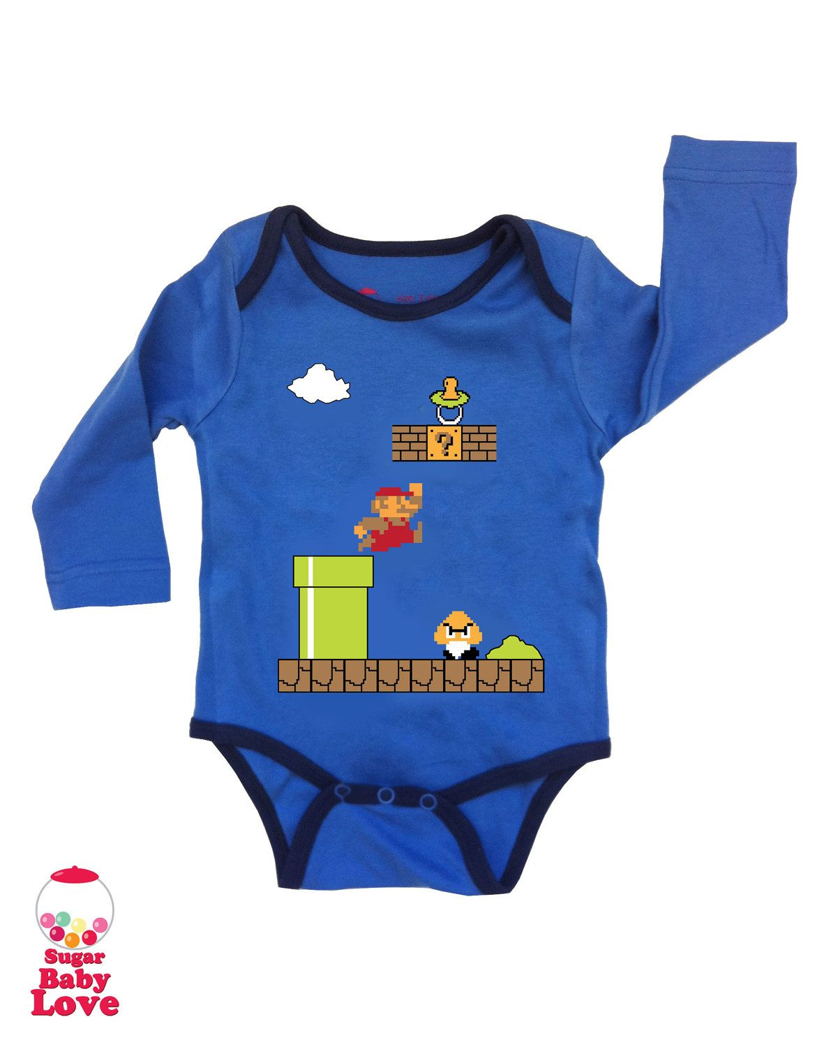 77d2fc6e8524 SALE baby super mario onesie by SugarBabyLove on Etsy.  15.00