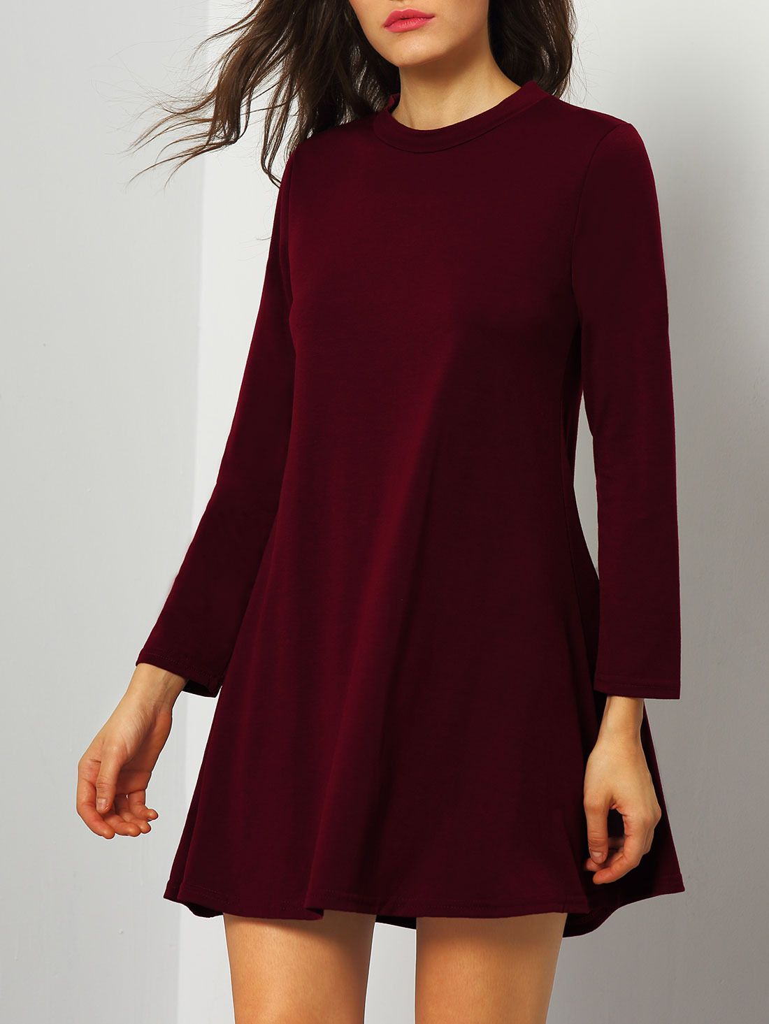 09dfc27f7d Vestido manga larga holgado -borgoña-Spanish SheIn(Sheinside) Latest Dress