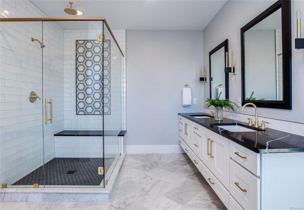 Dream Bathroom. Love the black granite countertops, gold ... on Bathroom Ideas With Black Granite Countertops  id=77046