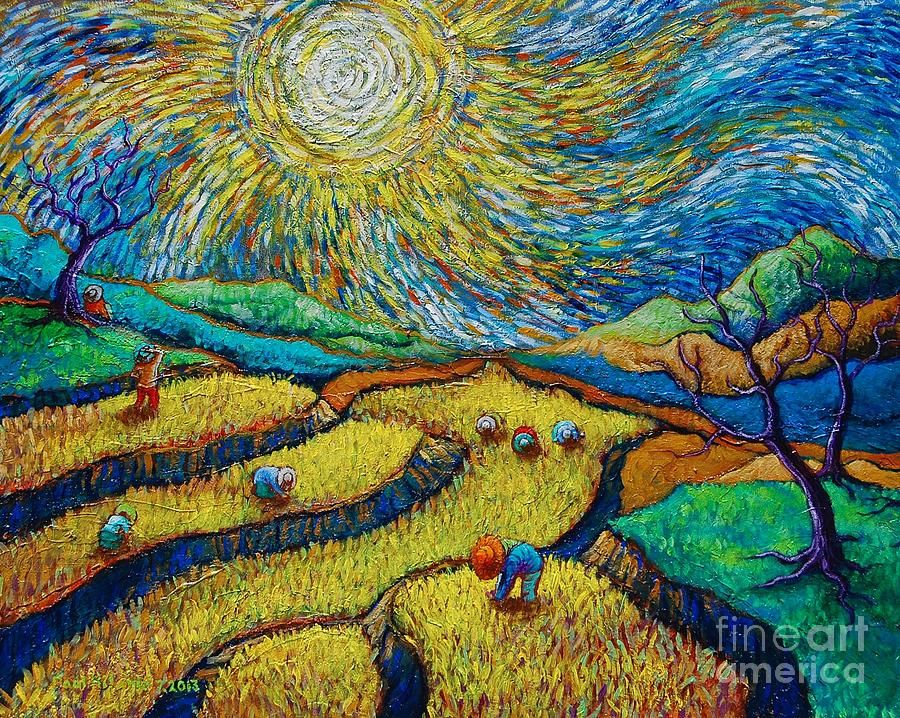 Toil today dream tonight diptych painting number 1 after for Mural van gogh