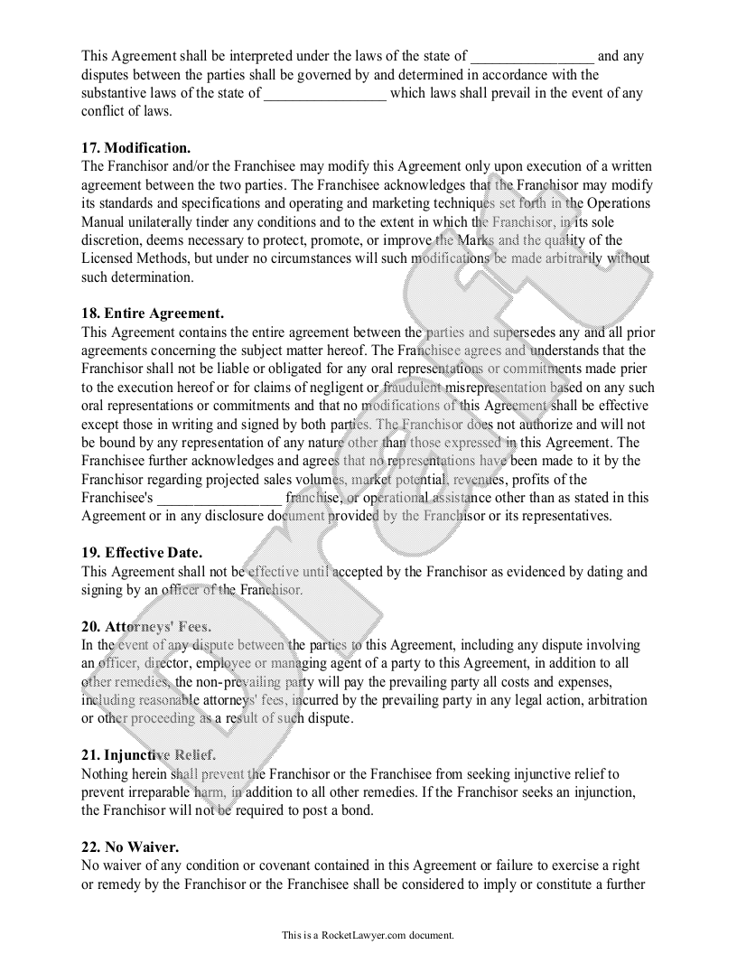 Testing Franchise agreement, Agreement, Templates