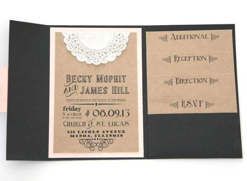 Rustic Wedding Invitation Pocket Fold Set With 4 Inserts Chalkboard Design Sample