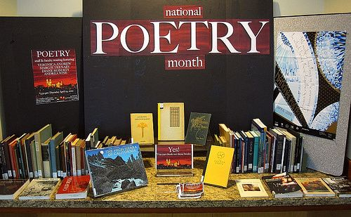 A poetry book display from the Gleeson Library in the University of San Francisco.