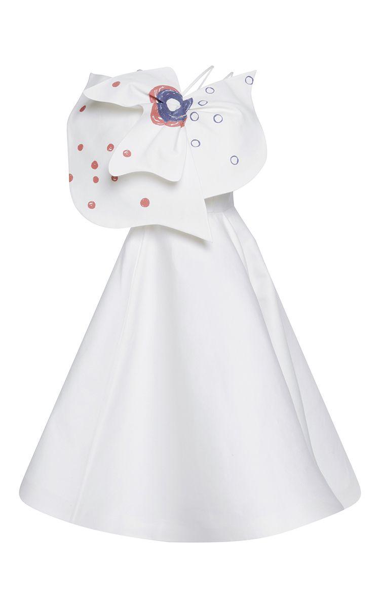 Printed Bow Embellished Shoulder Strap Dress by VIKA GAZINSKAYA Now Available on Moda Operandi