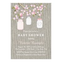Girls Burlap Baby Shower Card
