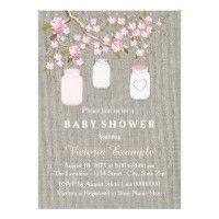 Girls Burlap Baby Shower Card