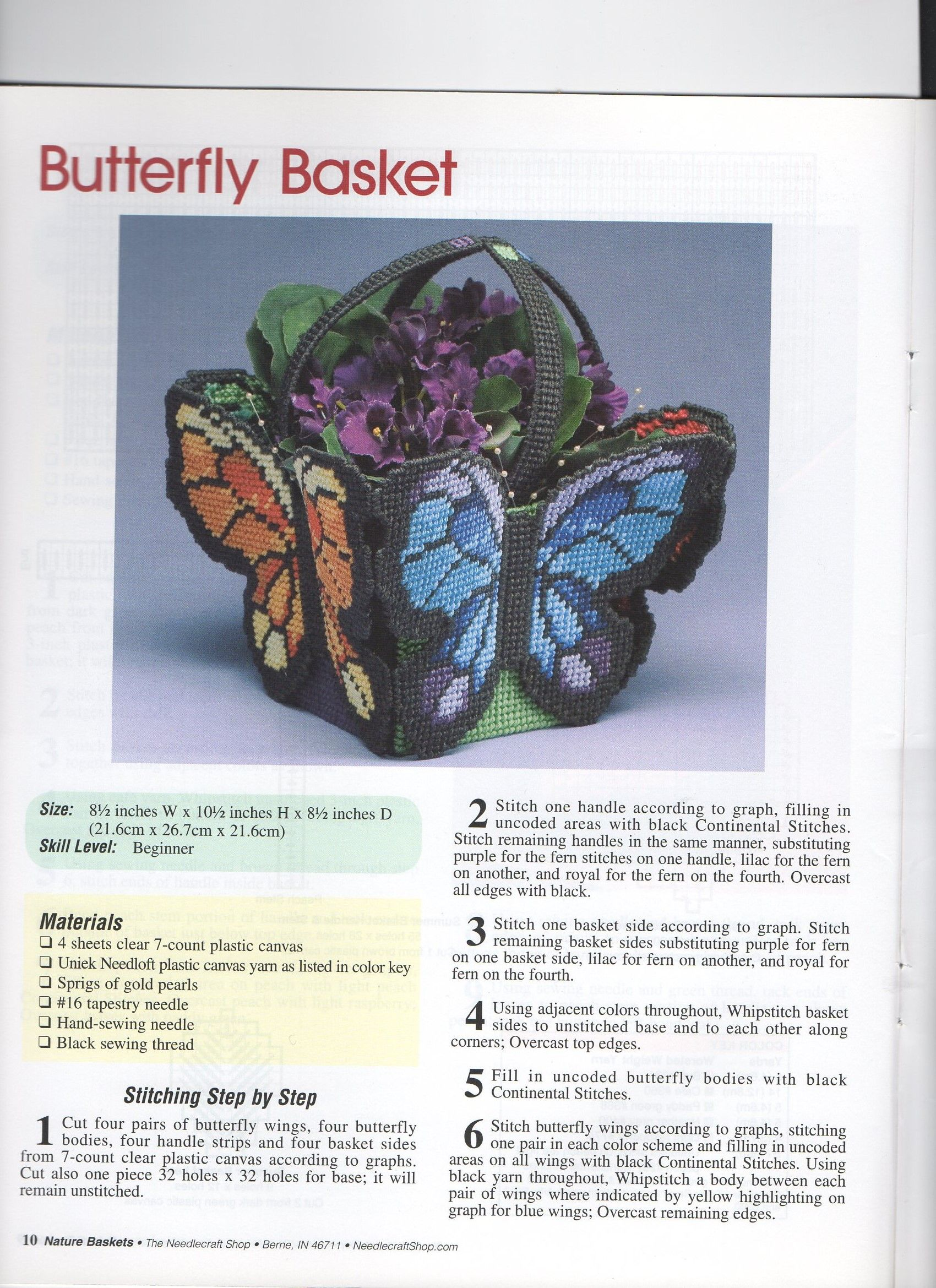 Buttergly Basket 1 Plastic Canvas Stitches Plastic Canvas Patterns Plastic Canvas Crafts